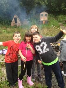 Kids enjoying marshmallows